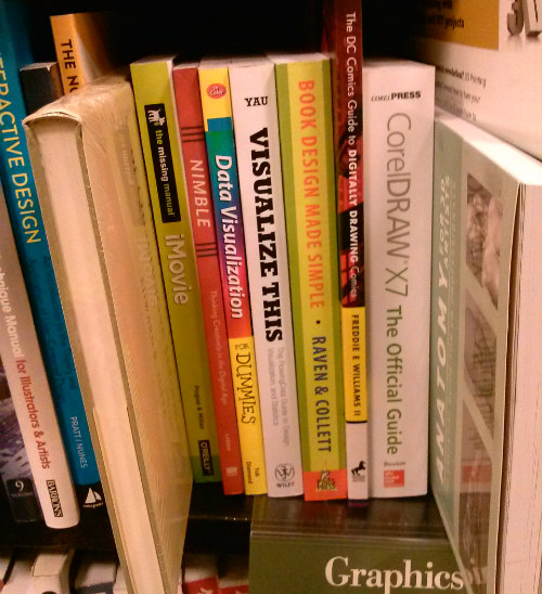 Book Design Made Simple on shelf with other technology books at Barnes & Noble